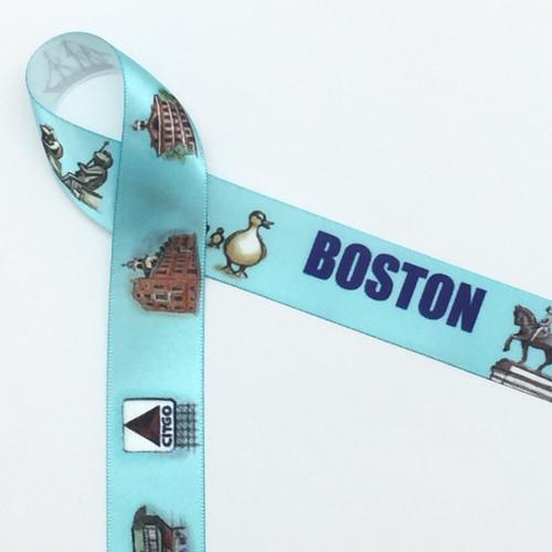 "Boston Landmark Ribbon with a blue background printed on 7/8"" white single face satin ribbon, 10 Yards"