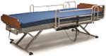 Semi Electric bed with full length bed rails and mattress shown as reference