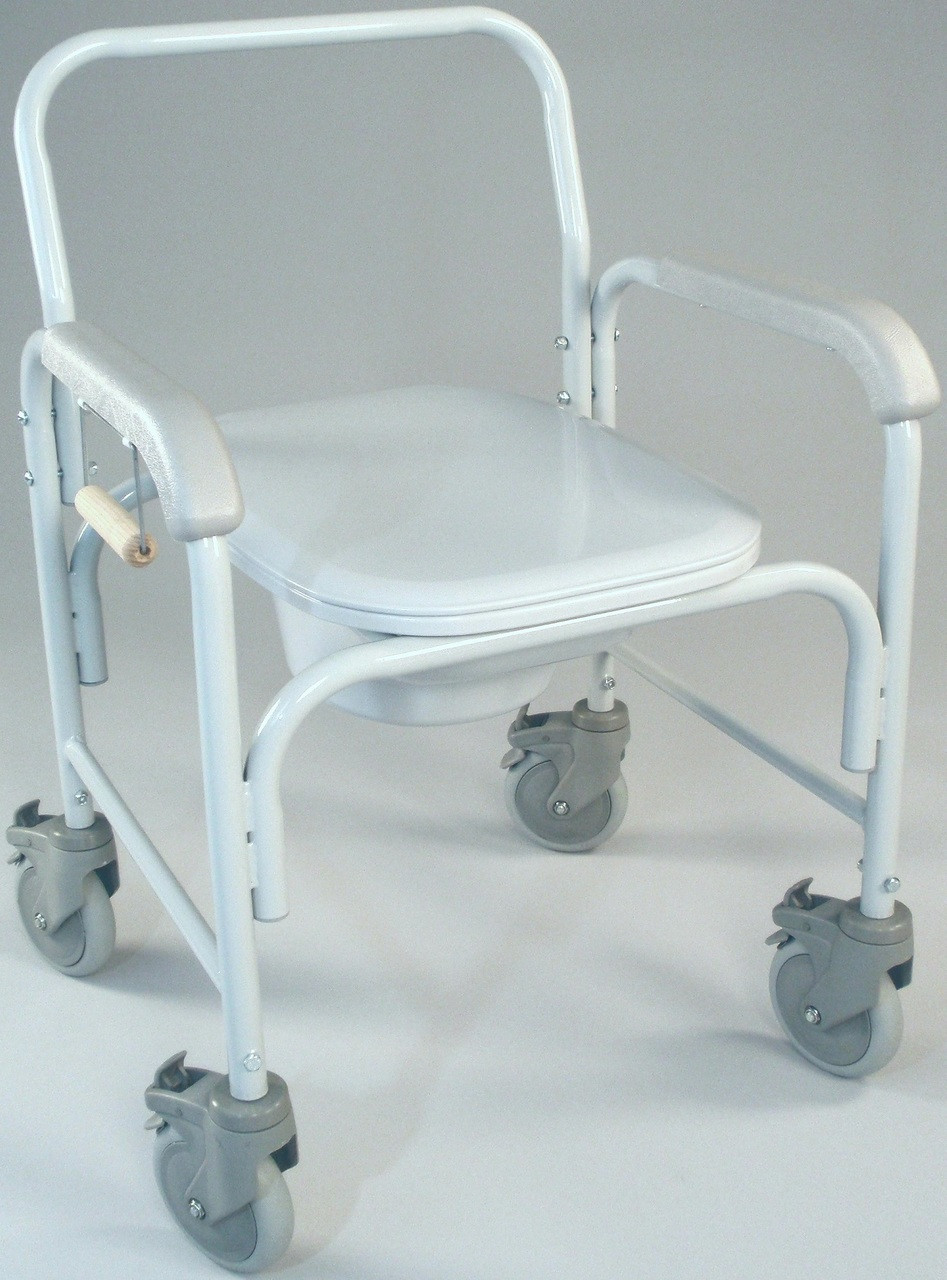 TFI 3217 Wheeled Commode Chair with Elongated Seat