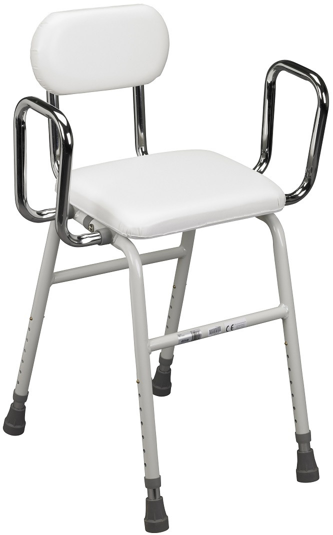 All Purpose Adjustable Stool W/ Back U0026 Arms 12455 By Drive