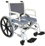 "Bariatric Commode Shower Wheelchair 24"" Wheels S990 by Tuffcare"