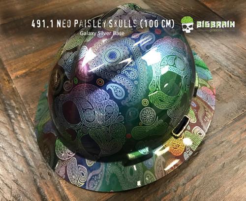Neo Rainbow Paisley Sugar Skulls Chrome Hydrographic Film Pattern Big Brain Graphics Dip Film USA Trusted Seller Galaxy Silver Base on Hard hat