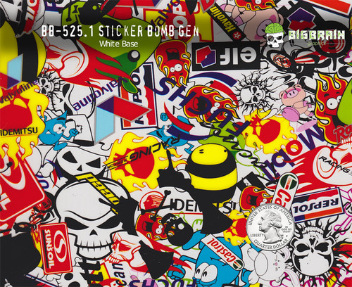 Sticker bomb stickerbomb generic pepsol racing pattern big brain graphics colorful hydrographics pattern white base quarter