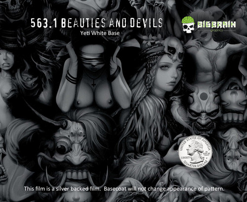 Beauties and Devils Freaks and Geeks Amazing Sexy Girl Hydrographics Hydrographic Film Big Brain Graphics White Base Quarter Reference