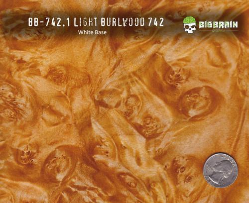 Light Burlwood 742 Woodgrain Classic Classy Wood Pattern Hydrographics Big Brain Graphics Beige Base Size Reference