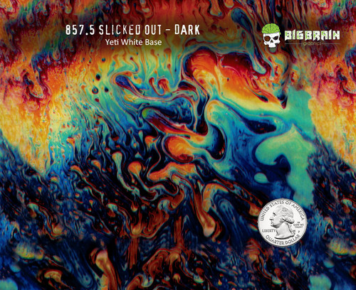 Slicked out Dark Slick Oil Slick Soapy Trippy Colorful Vibrant Hydrographics Film Big Brain Graphics Dip Pattern for Sale Buy Here Yeti White Base Quarter Reference