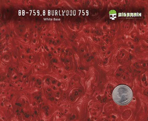 Burl Wood Burlwood Red White Base Hydrographics Film vehicle dip Big Brain graphics Pattern Buy Quarter Reference