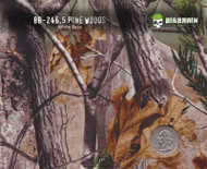 Pine Woods Camo Trees Hydrographics Pattern Big Brain Graphics Beige Base Quarter Size