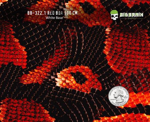 Red Boa Snake Snakeskin Reptile Hydrographics Film Pattern Big Brain Graphics White Base Quarter