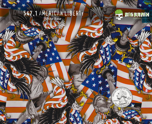 American Liberty Flags Statue Big Brain Graphics Hydrographics Pattern Big Brain Graphics White Base Quarter Reference