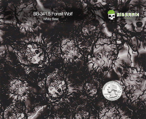 Forest Wolf Indian Pattern Hydrographics Film Big Brain Graphics White Base Quarter Reference