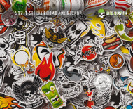 Stickerbomb Americana Sticker Bomb Stickers Thug Life Dope Hydrographics Film Big Brain Graphics White Base Quarter Reference