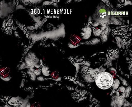 Werewolf Wild Wolves Hydrographics Film Supplier Big Brain Graphics USA Creepy Pattern Dip White Base Quarter Reference