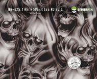 Hear Speak See No Evil Skulls Motorcycle Hydrographics Pattern Big Brain Graphics White Base Quarter Reference