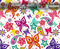 Butterfly Paisley Flower Colorful Girly Girl Woman Hydrographics Film Pattern Big Brain Graphics White Base