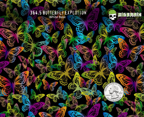 Butterfly Explosion Colorful Girly Woman Hydrographics Film Pattern Big Brain Graphics White Base Quarter Reference