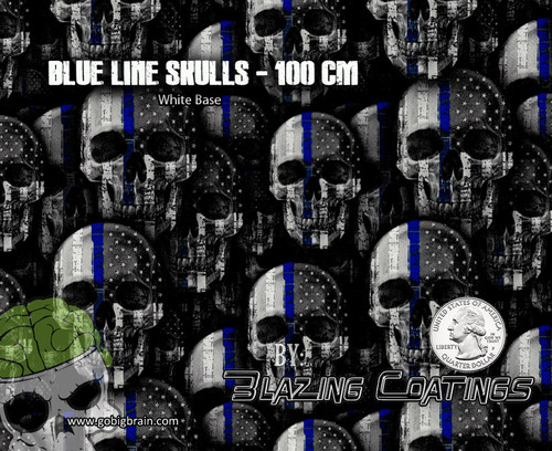 Blue Line Skulls Skull Police Support Law Enforcement Big Brain Graphics Hydrographics Film Patterns Hydrographics Films White Base Quarter Reference