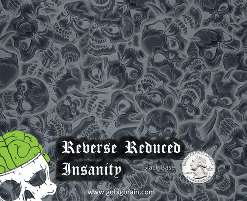 Reduced Reverse Insanity Silver Pattern Skull Awesome Sick Evil Skulls Big Brain Graphics Trusted USA Supplier Black Base Quarter Reference