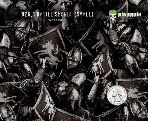 Battle Sword Knights Skulls Shield Battles Medieval Times Hydrographics Film Black Clear Pattern Big Brain Graphics White Base Quarter Reference