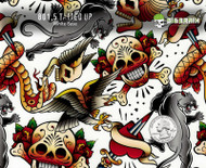Tatted Up Tattoo Tats Skull Eagle Hearts Puma Cat Old School Snake Hydrographics Pattern Film Big Brain Graphics Trusted Seller USA White Base Quarter Reference