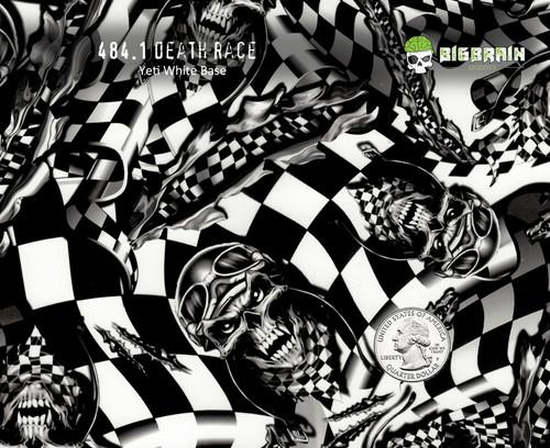 Death Race Skulls Racing Racecar Checkered Flag Skull