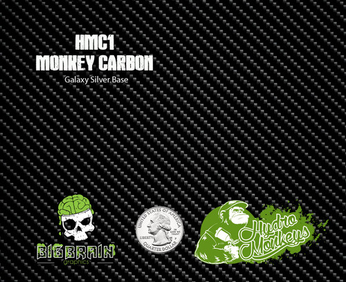 Hydromonkeys Monkey Carbon Fiber Hydrographics Film Dip Pattern Big Brain Graphics USA Trusted Seller Silver Base Quarter Reference