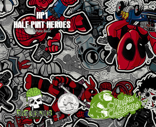 Half Pint Heroes Heros Hydromonkeys Ironman Deadpool Spiderman Hydrographics Pattern Dip Big Brain Graphics  USA Seller Trusted Supplier Coatings White Base Quarter Reference