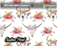 Boho Chic Flowers BF2 Skulls Pink White Flowered Skulls Southwestern Girly Custom Printed Film Big Brain Graphics Trusted Seller Hydrographic Film