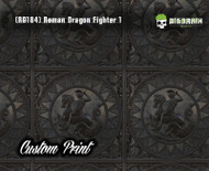 Roman Greek Dragon Fighter 1 (RD184) Black Architectural Metal Tile Abstract Custom Printed Hydrographics Film Hydrographic Film For Sale Big Brain Graphics