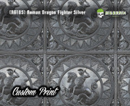 Roman Greek Dragon Fighter 2 (RD185) Brushed Nickel Architectural Metal Tile Abstract Custom Printed Hydrographics Film Hydrographic Film For Sale Big Brain Graphics