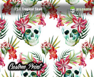 Tropical Skulls Maui Colorful Floral (TS1) Custom Printed Hydrographic Hydrographics Film Big Brain Graphics