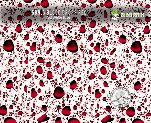 Red Blood Drops Droplets homicidal Water Red Hydrographic Film pattern Big Brain Graphics yeti White Base Quarter Reference
