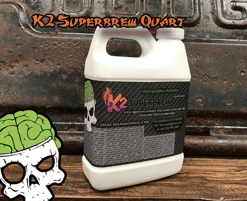 K2 SuperBrew Quart Activator Hydrographics Custom Film Activator Universal Big Brain Graphics Distributor Buy Hydrographic Film