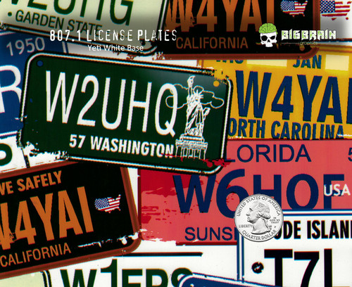 License Plates USA Lisense Lisence States Driving Hydrographic Hydrographics Pattern Dip Water Transfer Printing USA Seller Big Brain Graphics Yeti White Nanochem Base Quarter Reference