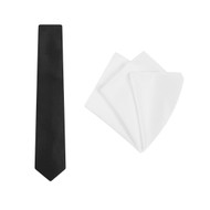 'plain black tie and white pocket square set""