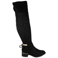 'KAMRI' Black Over The Knee Low Heel Boots