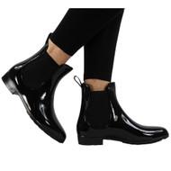 'LOLA' Ladies Black  Rain Flat Chelsea Ankle Boots
