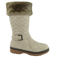 """TALIA"" Taupe Ankle Buckle Cleated Zip Boots"