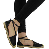"""ANASTASIA"" Black Glitter Low Flat Heel Ankle Strap Sandals"