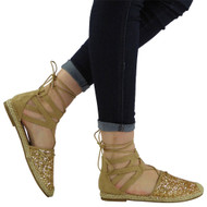 """Mandy"" Gold Glitter Low Flat Heel Ankle Lace Up Shoes"