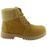 """ENOLA"" Honey Lace Up Quilted Grip Ankle Fleece Boots"