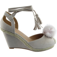 ''MACON'' Beige Lace Tie Up Pom Pom Wedges Shoes