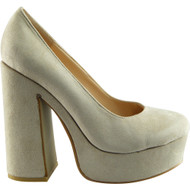 """RENEE"" Beige Suede Chunky Court Shoes"
