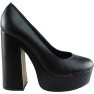 """RENEE"" Black PU Chunky Court Shoes"