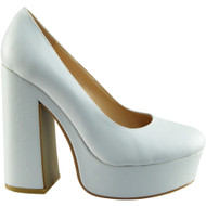 """RENEE"" White Pu Chunky Court Shoes"