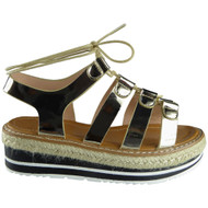 """KAIPO"" Gold Espadrilles Wedge Sandals"