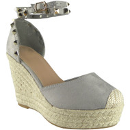 """TAINA"" Grey Suede Ankle Strap Sandals"