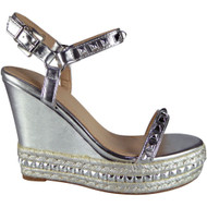 """ABIGAIL"" Silver Studded Ankle Strap Wedge Sandals"