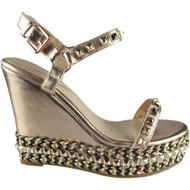 """GINNY"" Rose Gold/Black Studded Ankle Strap Wedge Sandals"