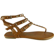 """TONKS"" Tan Studded Strappy Gladiator Sandals"